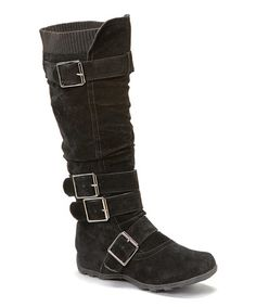 Take a look at this Black Square Buckle Boot by Anna Shoes on #zulily today!