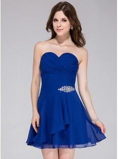 Special Occasion Dresses - $92.99 - A-Line/Princess Sweetheart Short/Mini Chiffon Homecoming Dress With Beading Cascading Ruffles  http://www.dressfirst.com/A-Line-Princess-Sweetheart-Short-Mini-Chiffon-Homecoming-Dress-With-Beading-Cascading-Ruffles-022027098-g27098