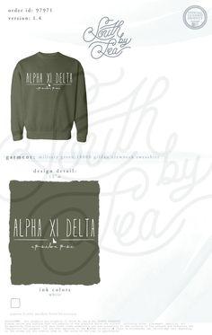 Alpha Xi Delta   AXD   Epsilon Psi   Cute Sorority Crew Neck Sweatshirt Inspiration   South by Sea   Sorority Shirts   Sorority Tanks   Greek Shirts   TShirt Ideas   Tee Shirt Ideas