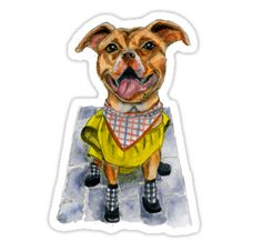 This is a watercolor painting of a dog in a yellow raincoat and rain boots.  He has a huge smile on his face. • Also buy this artwork on stickers, apparel, phone cases, and more.
