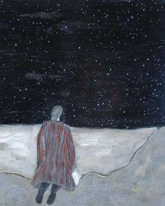 "Gigi Mills ""Kneeling in Starry Night"" 20x26 Oil on Canvas @gallery-orange.com"