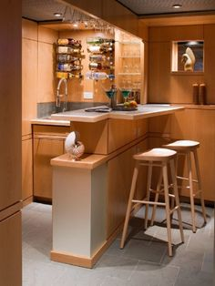 Interior, Captivating Rustic Mini Kitchen And Corner House Bar With Chic  Examine And Hanging Wine