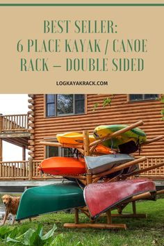 Heavy duty holds 6 kayaks, canoes or sups. Each boat can be up to 100 pounds. Made of 100% northern white cedar logs with mortise and tenon joinery. #kayak #logkayakrack Canoe Storage, Storage Rack, Canoes, Kayaks, Northern White Cedar, Kayak Rack, Cedar Log, Storage Systems, Outdoor Furniture Sets