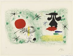 """Joan Miró. Person in a Garden, II. 1951. Lithograph. composition: 14 1/4 x 23 7/16"""" (36.2 x 59.5 cm); sheet: 19 9/16 x 25 9/16"""" (49.7 x 65 cm). Gift of Mr. and Mrs. Armand P. Bartos. 258.1955. © 2016 Successió  Miró / Artists Rights Society (ARS), New York / ADAGP, Paris. Drawings and Prints"""