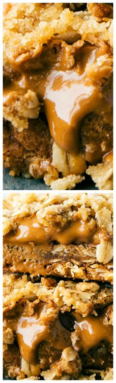 Cookie Butter Oatmeal Bars ~  Simple-to-make oatmeal bars with a gooey cookie butter (biscoff) and milk chocolate chip center.