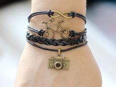 226 Handmade black leather bracelet Infinity bike camera charms on wax cords Fashion jewelry Friendship bracelet Birthday gift For teen girl...