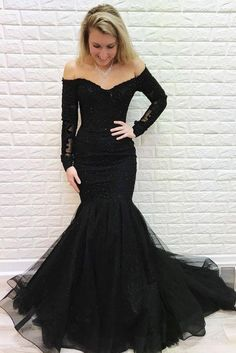 Prom Dresses Elegant, Mermaid Off the Shoulder Long Sleeves Lace Prom Dress with Beads, Mermaid prom dresses, two piece prom gowns, sequin prom dresses & you name it - our 2020 prom collection has everything you need! Mermaid Prom Dresses Lace, Prom Dresses Long With Sleeves, Tulle Prom Dress, Black Wedding Dresses, Prom Party Dresses, Dress Long, Long Sleeve Mermaid Dress, Formal Dress, Black Mermaid Dress