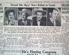 Patsy Cline death in Country Western Singers, Country Artists, Country Music Stars, Country Music Singers, Patsy Cline, Newspaper Headlines, History Facts, History Timeline, Historical Photos