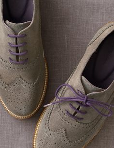 Boden's suede brogues with adorable purple laces: to brogue or not to brogue, that is the question.