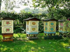 Apiary.  Zalipie - Painted hives in Poland. | photo pinned by Western Sage and KB Honey (aka Kidd Bros)