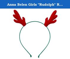 """Anna Belen Girls """"Rudolph"""" Red Antlers Christmas Headband O/S Green Headband. Anna Belen """"Rudolph"""" is a fun antlers headband for the holiday season. Shimmering puffy red antlers on a satin ribbon-wrapped thin headband. This headband sells out at our boutique every year. Also comes in another style called """"Reindeer."""" Our hair accessories are handmade in NYC's Upper East Side and each item is of the highest quality."""" is an adorable crown headband for your little princess. The glitter crown..."""