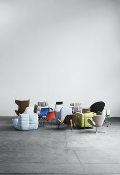 A mix of furniture dressed in the Waterborn textile