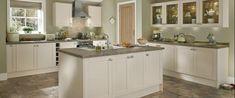 Kitchen Fitter in Warrington, Cheshire. Cream Shaker Kitchen, Kitchen Fitters, Kitchen Colour Schemes, Kitchen Collection, Kitchen Interior, Home Kitchens, Kitchen Island, Cottage, Dining