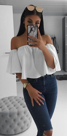 #spring #outfits White Off The Shoulder Blouse & Navy Destroyed Skinny Jeans