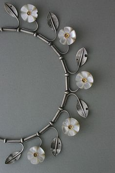 Necklace | Lisa West. 'Blossom'  Mother of pearl, silver and fine gold