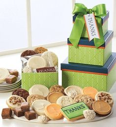 This uniquely shaped gift tower arrives with a delicious assortment of buttercream frosted cookies – including our thank you wrapped cut-out cookies, snack size gourmet cookies and brownies, a hand decorated crunchy thank you sugar cookie and sweet and salty pretzel clusters. Thank You Cookies, Cut Out Cookies, Gourmet Cookies, Gluten Free Cookies, Cookie Frosting, Buttercream Frosting, Frosted Cookies, Cookie Packaging