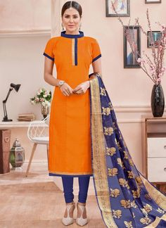 Buy salwar kameez and designer salwar suits online from the collection. Grab this flawless orange churidar suit for casual and party.