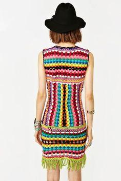 beautiful multicolored crochet dress from Shakuhachi
