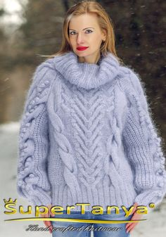 Boutique fuzzy cable knitted mohair sweater in gray by supertanya
