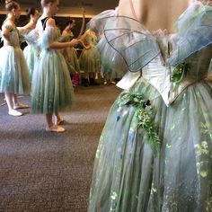 So pretty! Love the green shading... La Sylphide, costume fittings, romantic tutu, Queensland Ballet