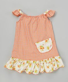 Another great find on #zulily! Orange Gingham Angel-Sleeve Dress - Infant, Toddler & Girls #zulilyfinds