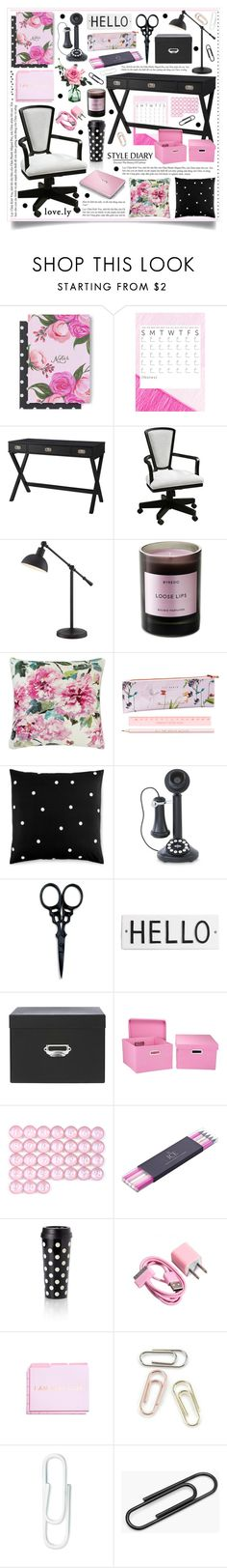 """Rose & Black Office Decor"" by hmb213 ❤ liked on Polyvore featuring interior, interiors, interior design, home, home decor, interior decorating, Threshold, Uttermost, Home Decorators Collection and Byredo"