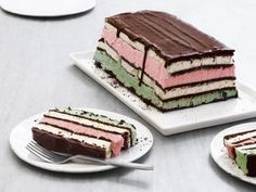 Neapolitan Ice Cream Sandwich Cake By Food Network Kitchen Ice Cream Treats, Ice Cream Cookies, Ice Cream Desserts, Frozen Desserts, Frozen Treats, Just Desserts, Sorbet, Neapolitan Ice Cream Cake, Mint Chip Ice Cream