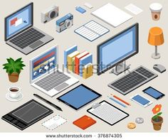 Flat isometric vector workspace. laptop, tablet, books, camera, office, graphic tablet, lamp, coffee
