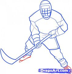 hockey player drawings | Step 8. How to Draw a Hockey Player
