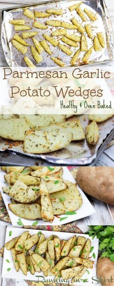 Easy, Healthy Baked Parmesan Garlic Potato Wedges Recipe,  Simple side dish made in oven and seasoned to perfection with parmesan and garlic! | Running in a Skirt