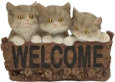 "Bayden Hill Ps Cat Welcome Sign 11""W, 8""H"