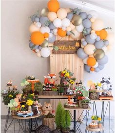 Ballon Arch Balloon Garland Ft Long For Bridal Shower Birthday Party Theme Party Events: 100 Gold White Orange Blush Gray Balloons Fall Party Themes, Party Ideas, Birthday Party Themes, Fox Party, Gold Confetti Balloons, Dessert Party, Dessert Table, Baby Shower Balloons, Baby Balloon