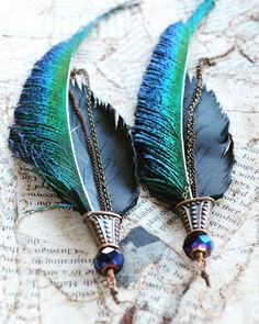 Peacock Swords & Black Leather Hand Crafted Feathers. Copper & Bronze Metals. Statement Earrings by Adrienne Adelle.  www.etsy.com/shop/adrienneadelle
