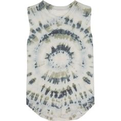 Raquel Allegra Tie-dyed cotton-blend jersey tank ($180) ❤ liked on Polyvore featuring tops, relaxed fit tops, green top, cotton jersey, tie dyed tops and tie dye tank top