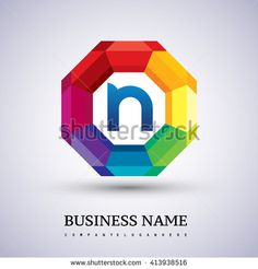 N Letter colorful logo in the hexagonal. Vector design template elements for your application or company logo identity. - stock vector