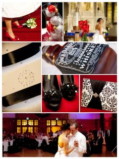 Stylish and sexy and so-elegant-it-hurts, this black and white winter wedding is the ultimate in wedding chic. What's even better is that the bride and groom used pretty but inexpensive accessories to add color to their day, so the end result was beautiful but not bank-breaking.Check out the gorgeous finishing touches - a simple silk beribboned cake, sassy but classy red satin heels for the bride, and a touch of humor in the whiskey-flavored hot sauce favors. We are just LOVING it all.Th