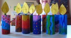 tube chanukiah : Recycle Craft for Dawali, Festival of lights-Cardboard tube candle-brilliant to many holidays! Cardboard tube chanukiah : Recycle Craft for Dawali, Festival of lights-Cardboard tube candle-brilliant to many holidays! Hanukkah Crafts, Jewish Crafts, Diwali Craft, Hannukah, Holiday Crafts, Holiday Fun, Hanukkah Menorah, Hanukkah Candles, Kwanzaa