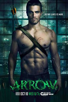 "The ""Arrow"" poster features Stephen Amell, who we're pretty sure wasn't born, but was actually designed in a laboratory specifically to play the role of the Green Arrow, Oliver Queen. Normal humans just don't have abs like that."