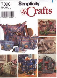 Quilted Bags Plus Eyeglass Case Patterns Simplicity by 7thStash, $3.00