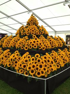 A tower of sunflower flowers in the floral marquee at The Southport Flower Show Southport Flower Show, Sunflower Flower, Tower, Events, Wreaths, Future, Halloween, Floral, Decor