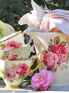 Teacups and pitcher in beautiful pink rose designs. For a full board of Pins of Pink Rose Cottage Style, Victorian Houses and Decor with 'No Pin Limits', Click here: https://www.pinterest.com/annesminis/pink-rose-cottage/