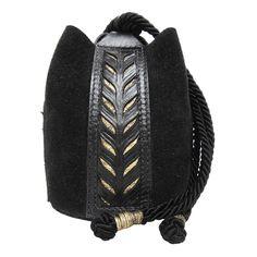 Black and Gold Tooled Leather Kinchaku Bag by Cristiane Tano