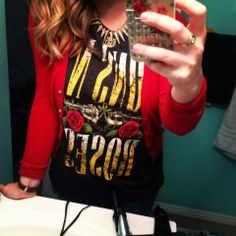 the daily dani: Life Lately via Instagram // cardigan, spike necklace, monogram necklace, guns n roses band tee
