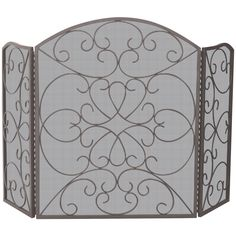 UniFlame 3 Fold Bronze Screen with Ornate Design