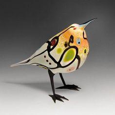 by Sharon Fero Glass Ceramic, Mosaic Glass, Ceramic Art, Bird Sculpture, Animal Sculptures, Glass Animals, Ceramic Animals, Art Of Glass, Glass Birds