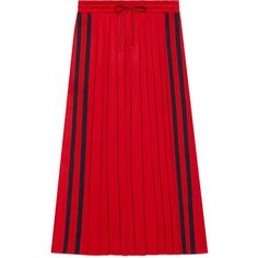 Gucci Pleated Technical Jersey Skirt ($715) ❤ liked on Polyvore featuring skirts, blue, red pleated skirt, knee length pleated skirt, gucci, red skirts and gucci skirt