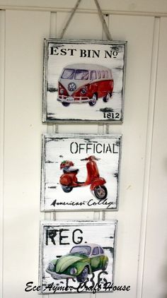 I like this idea, but no scooter in the middle, another VW. Hobbies And Crafts, Diy And Crafts, Arts And Crafts, Arte Pallet, Mirrored Picture Frames, Decoupage Vintage, Home And Deco, Porch Decorating, Painting On Wood