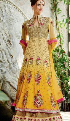 Exclusive Yellow coloured semi stitched salwar suit
