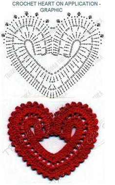 Corazones a crochet con patrones