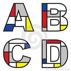 Mondrian alphabets